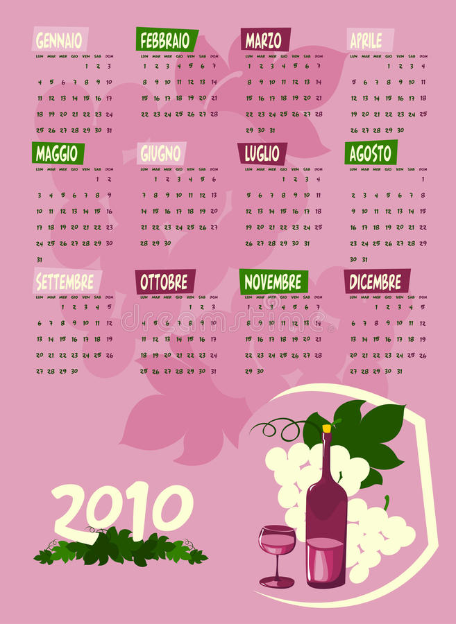 Calendar of next year. Italian language
