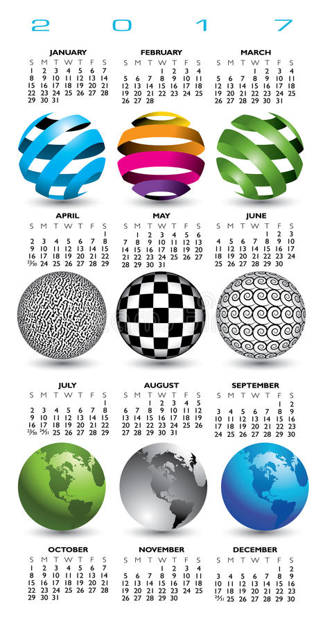 A 2017 calendar with nine abstract globes vector illustration