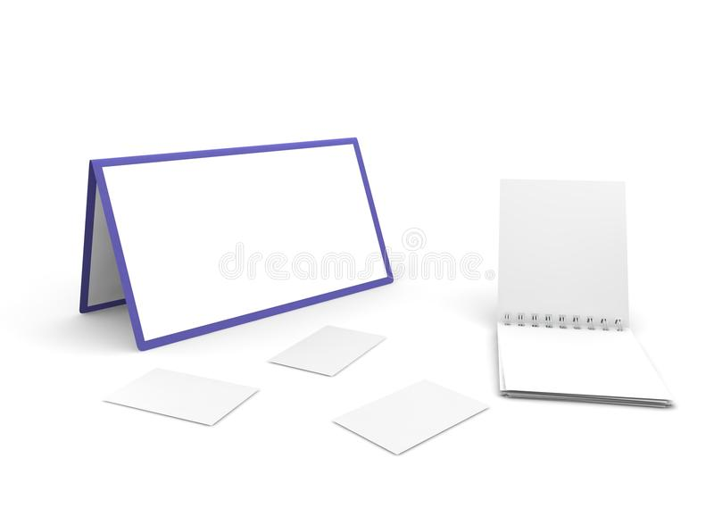 Calendar, notebook and cut-aways. On the white isolated background stock images