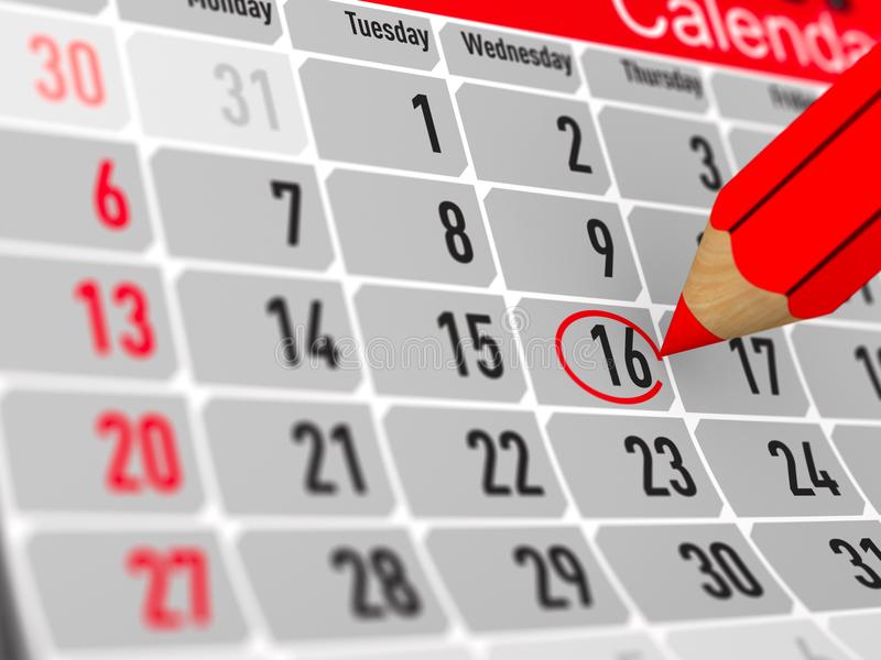 Calendar with noted date on white background. Isolated 3D illustration.  stock illustration