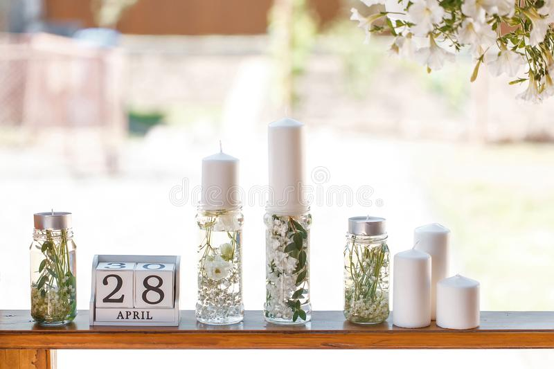 Desk calendar among the decor at the wedding stock photography