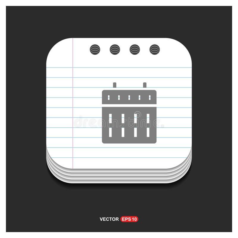 Calendar o ícone cinzento do ícone da Web no EP do vetor do molde do estilo do bloco de notas ilustração royalty free