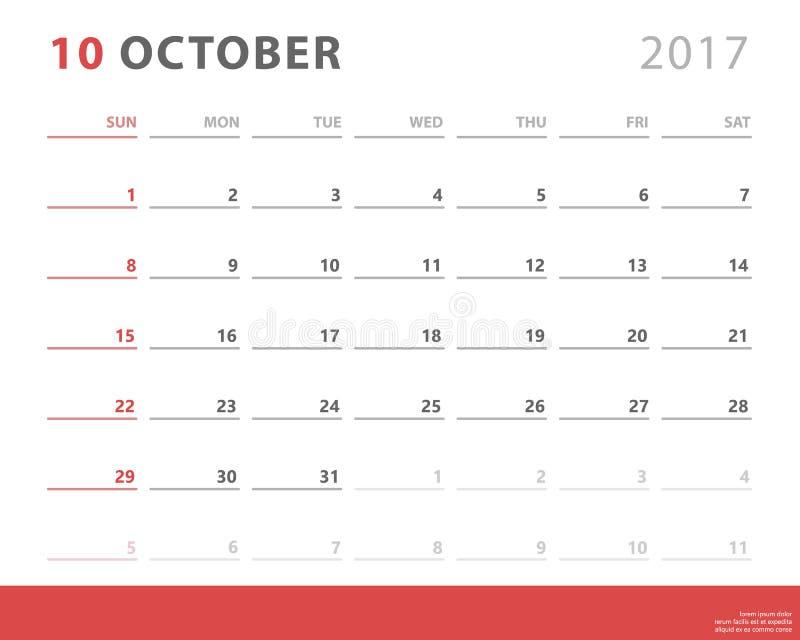 Calendar o planejador 2017 outubro, começos domingo da semana, molde do projeto do vetor ilustração stock