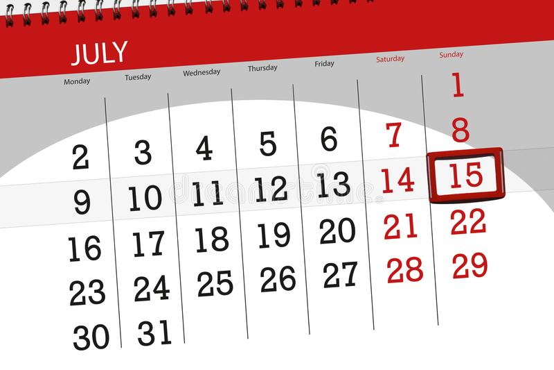 Calendar o planejador para o mês, dia da semana, domingo do fim do prazo, o 15 de julho 2018 foto de stock royalty free