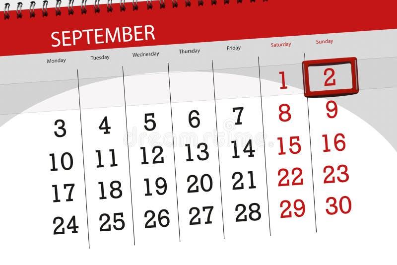 Calendar o planejador para o mês, dia da semana, 2018 setembro do fim do prazo, 2, domingo fotos de stock royalty free