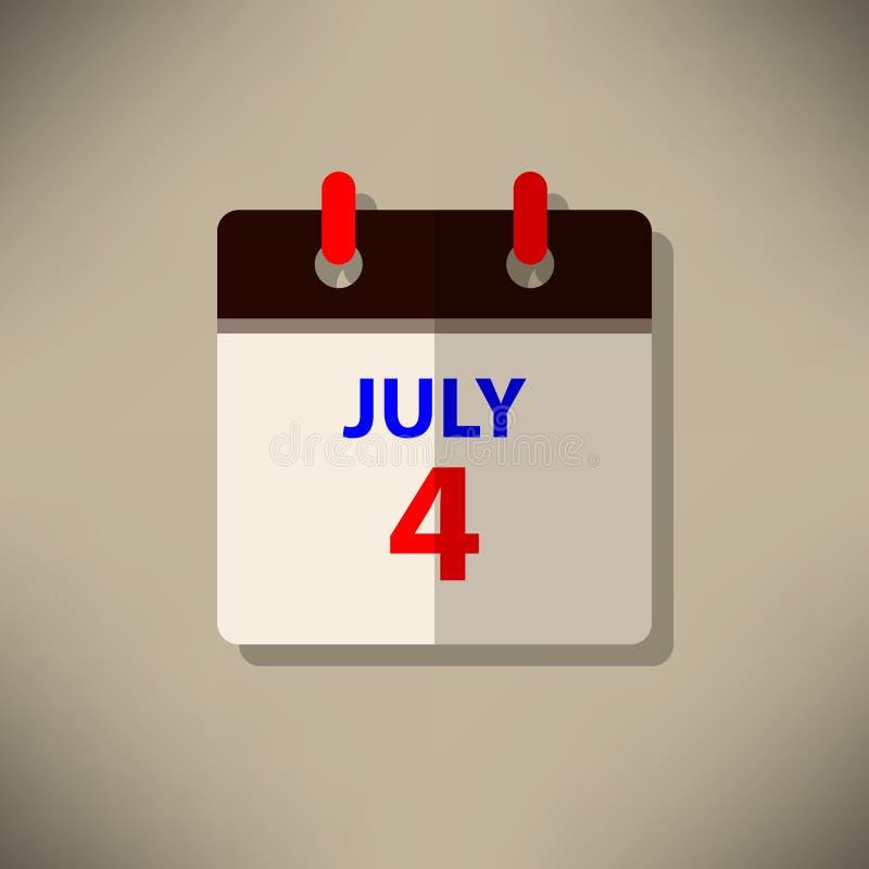 Calendar o vetor 4o do ícone do festival independente do dia de julho feliz ilustração stock