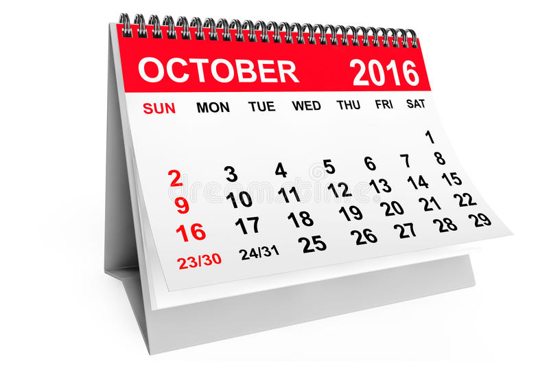 Calendar October 2016. 3d rendering royalty free illustration