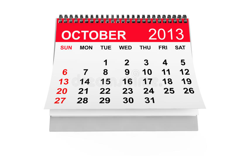 Calendar October 2013 vector illustration