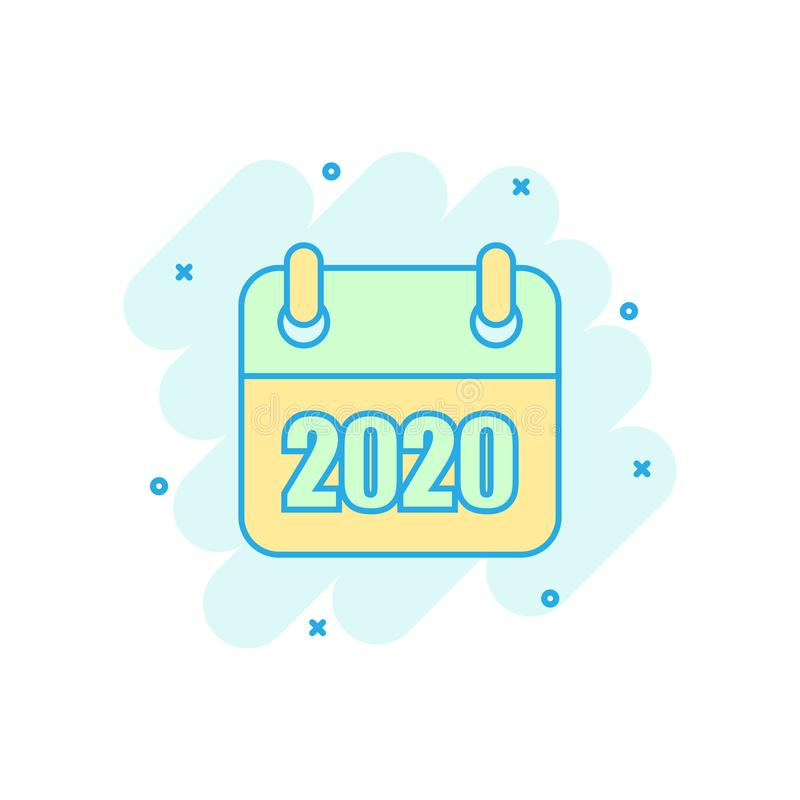 Calendar 2020 organizer icon in comic style. Appointment event vector cartoon illustration on white isolated background. Month. Deadline business concept splash stock illustration