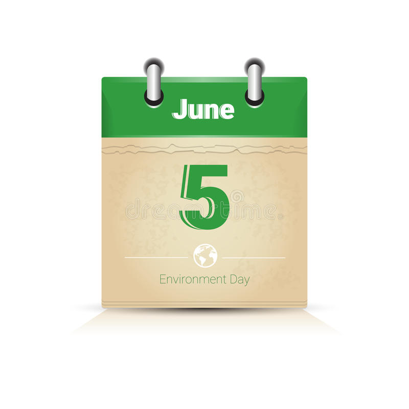 Calendar Page 5 June World Environment Day Ecology Protection Holiday Greeting Card stock illustration