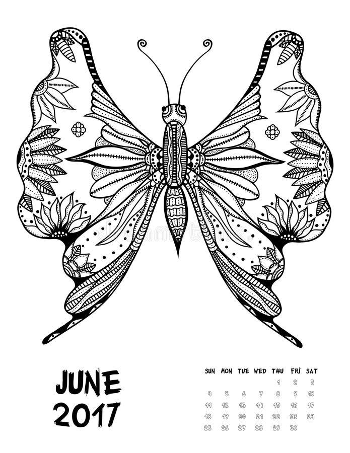2017 calendar page of month. June, 2017 calendar. Line Art Black and white Illustration. Butterfly. Print anti-stress coloring page vector illustration