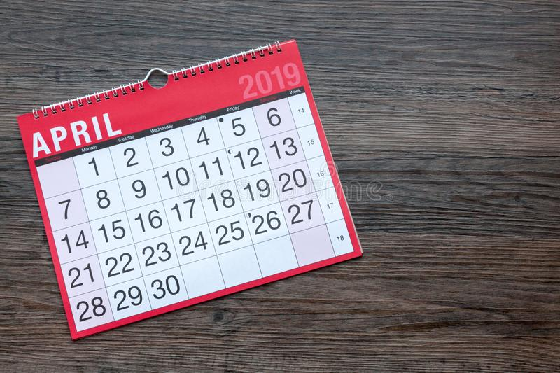 April 2019 Calendar Page. Calendar page showing the month of April 2019 with copy space royalty free stock photos