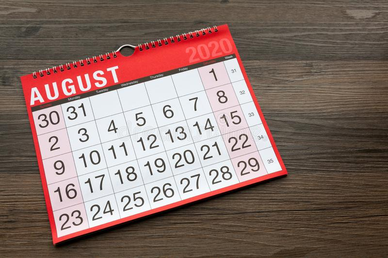 Calendar page showing the month of August 2020. Copy pace provided royalty free stock photos