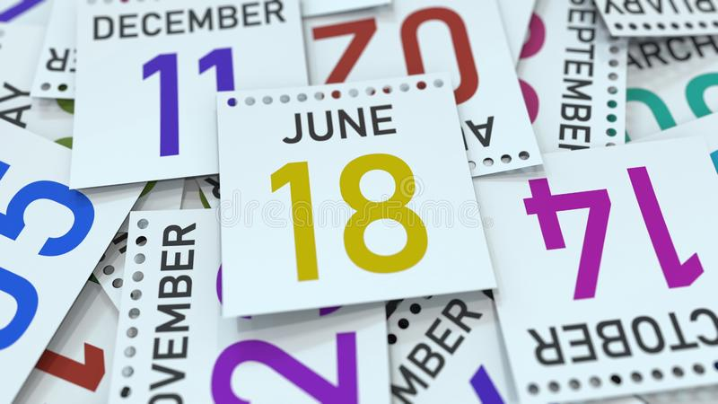 June 18 date on calendar page. 3D rendering. Calendar page with a specific date, 3D royalty free illustration