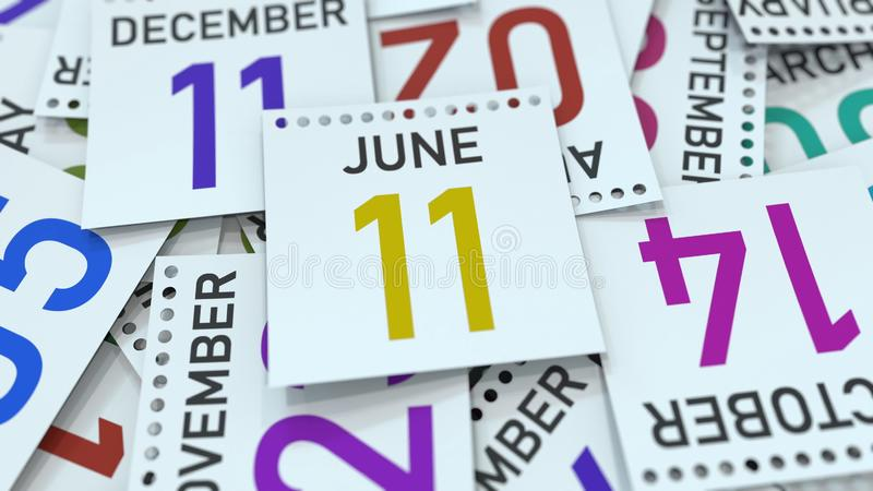June 11 date on calendar page. 3D rendering. Calendar page with a specific date, 3D stock illustration