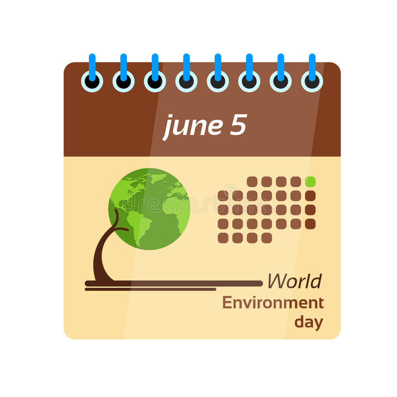 Calendar Page World Environment Day royalty free illustration