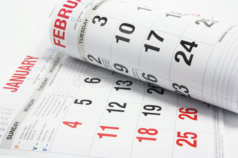 Calendar Pages. On Seamless White Background royalty free stock images