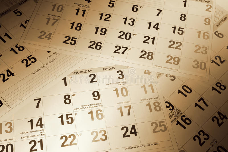 Calendar Pages. Close Up of Calendar Pages in Warm Tone stock photography
