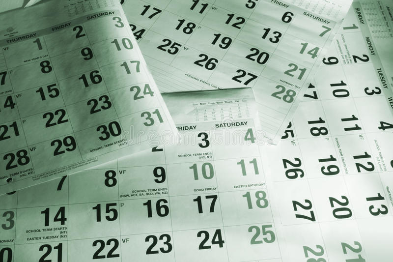 Calendar Pages. Close Up of Calendar Pages in Green Tone royalty free stock photography