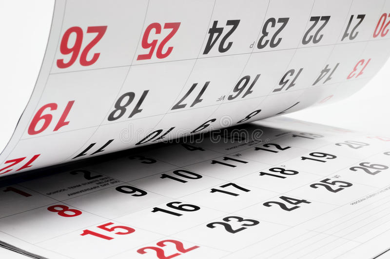 Calendar Pages. Close up of Calendar Pages on Seamless White Background royalty free stock photography