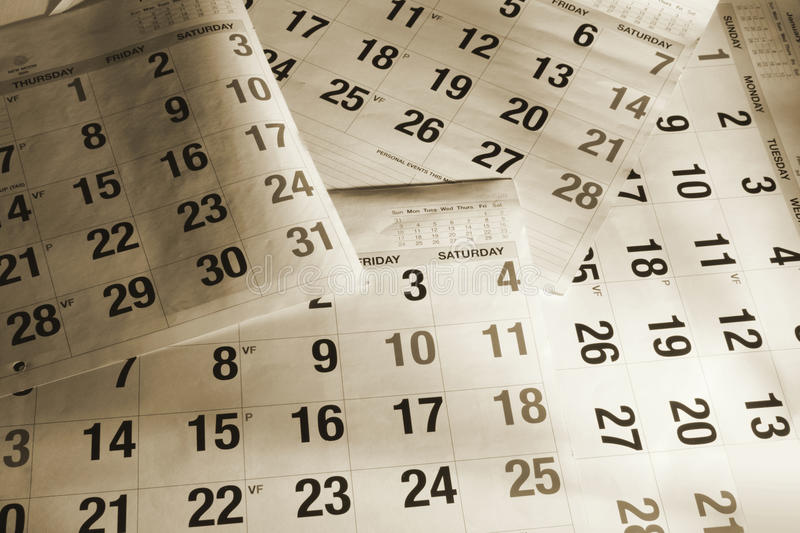 Calendar Pages. Close Up of Calendar Pages royalty free stock photography