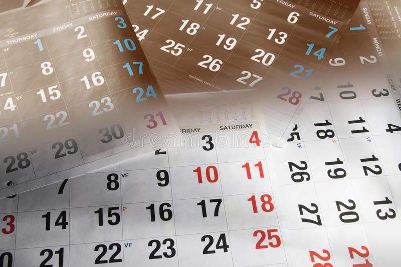 Calendar Pages. Close Up of Calendar Pages royalty free stock image