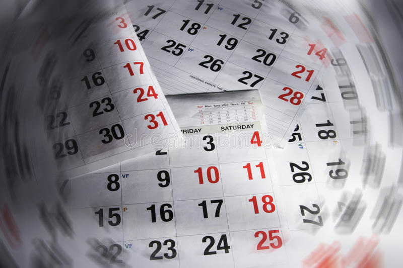 Calendar Pages. Close Up of Calendar Pages royalty free stock images