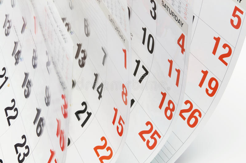 Calendar Pages. Close Up of Calendar Pages royalty free stock photos