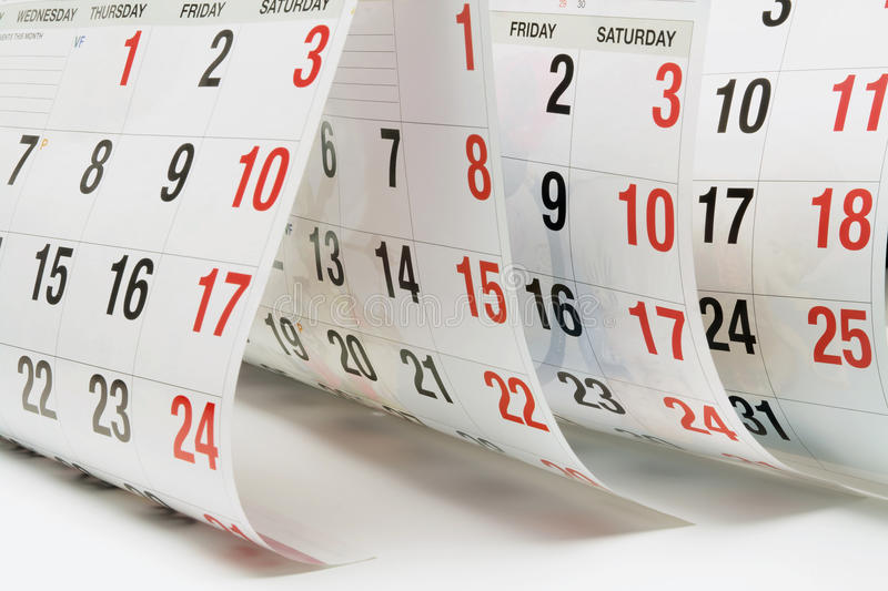 Calendar Pages. Close Up of Calendar Pages royalty free stock photo