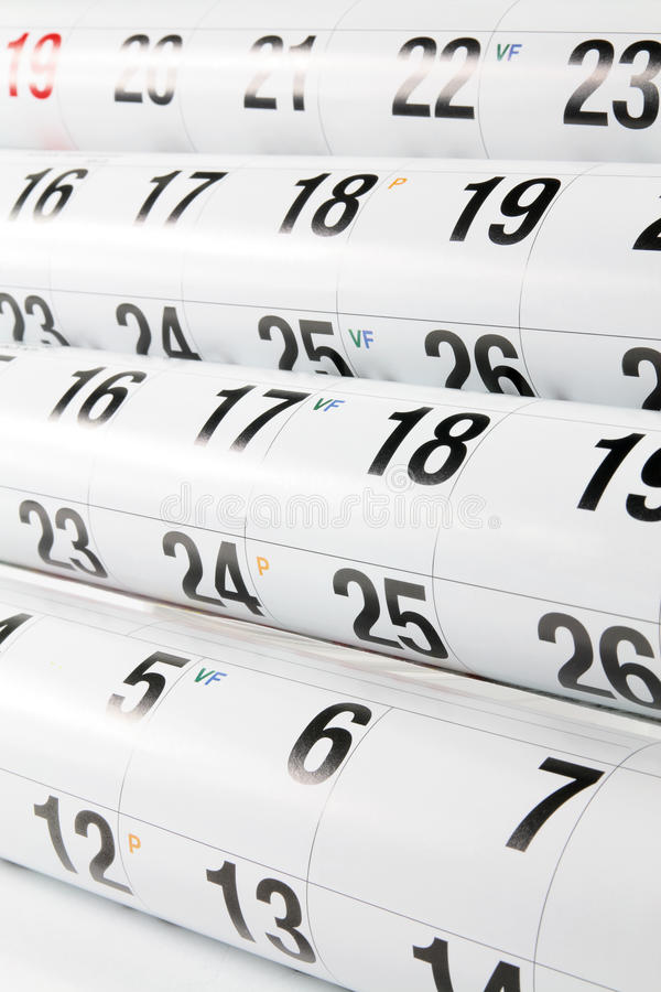 Calendar Pages. Close Up of Calendar Pages stock images