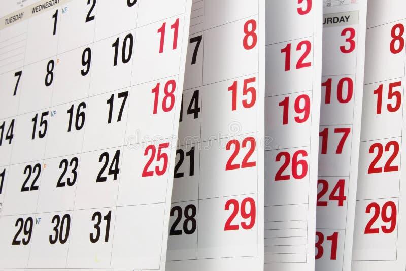 Calendar Pages. Close Up of Calendar Pages stock photos
