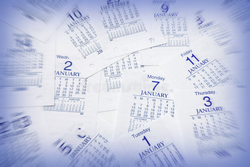 Calendar Pages. In Blue Tone stock photography