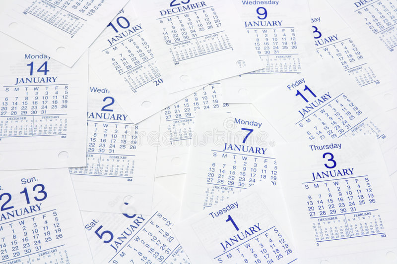 Calendar Pages. Multiple Calendar Pages in Blue Tone royalty free stock photography