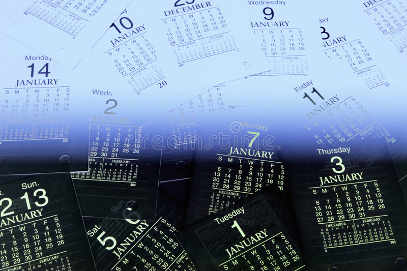 Calendar Pages. Multiple Calendar Pages in Blue Tone royalty free stock photo