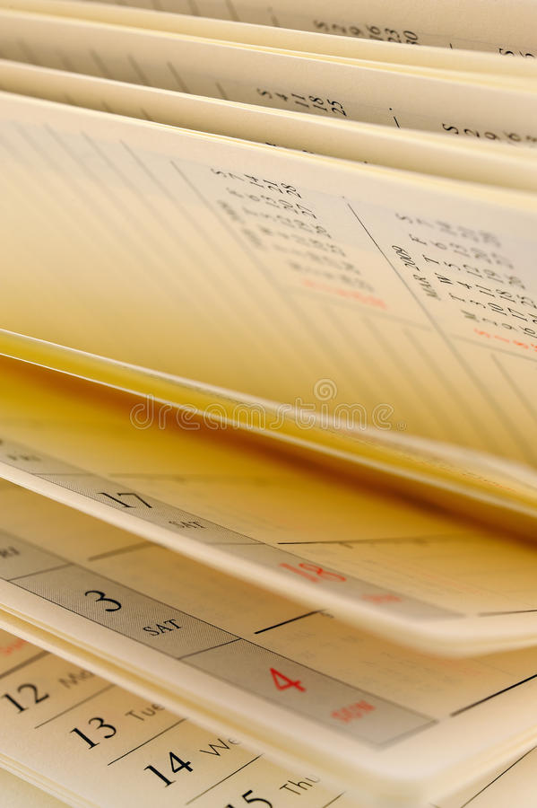 Calendar pages. Vertical image of calendar pages stock image