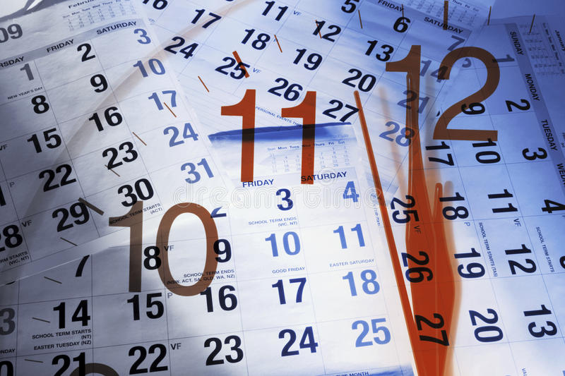 Download Calendar Pages And Clock Royalty Free Stock Images - Image: 12407509