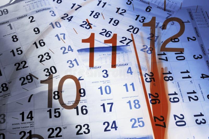 Calendar Pages and Clock. Composite of Calendar Pages and Clock royalty free stock images
