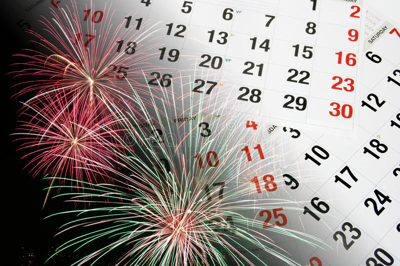 Calendar Pages and Fireworks. Composite of Calendar Pages and Fireworks royalty free stock photo
