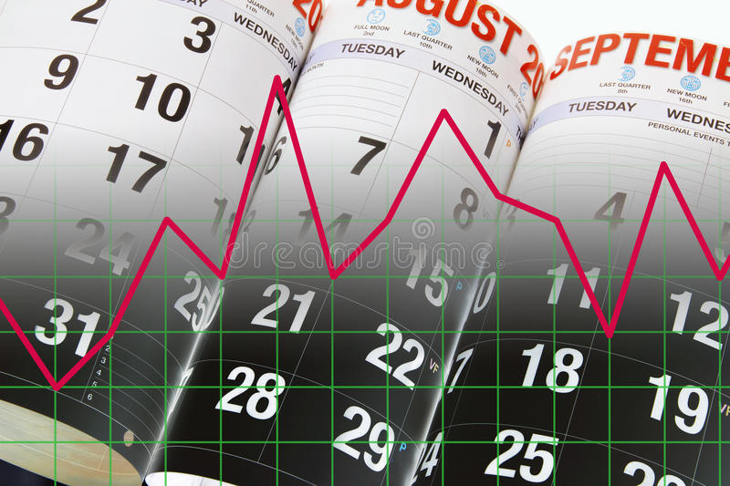 Calendar Pages and Graph. Composite of Calendar Pages and Graph stock images