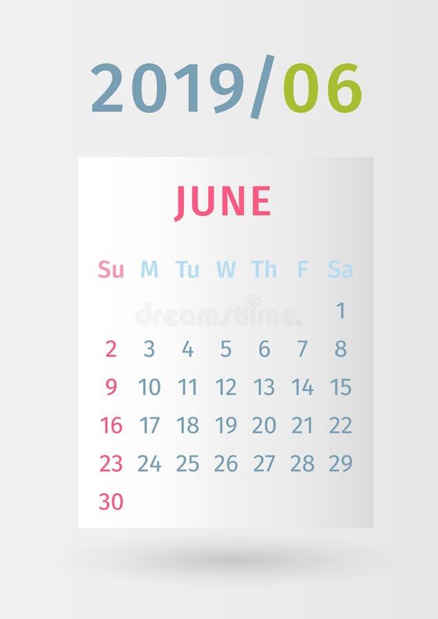 Calendar 2019 paper design. Page June. Week starts on Sunday. Paper design. Eps10 vector stock illustration