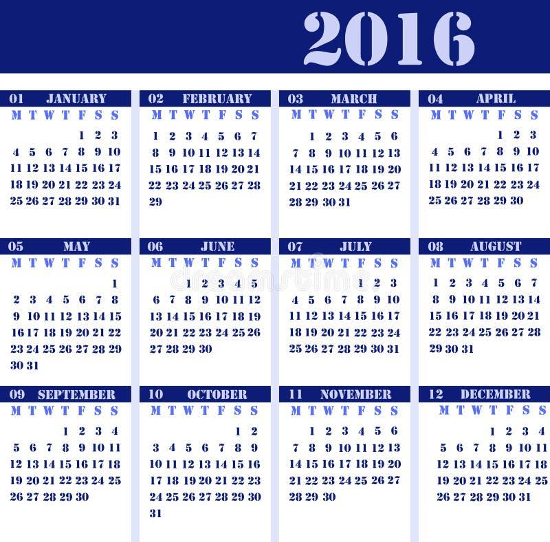 Calendar pelo ano 2016 imagem de stock royalty free