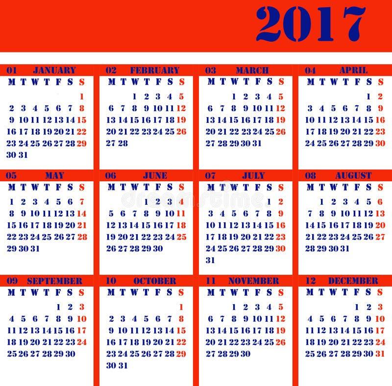 Calendar pelo ano 2017 fotos de stock royalty free
