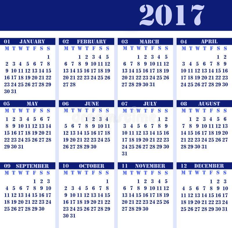 Calendar pelo ano 2017 fotografia de stock