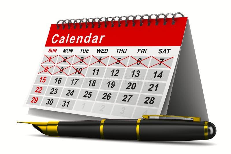Calendar and pen on white background stock illustration