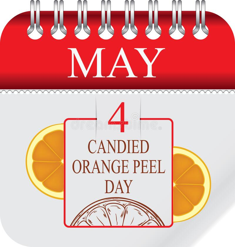 Candied Orange Peel Day. Calendar with perforation for changing dates - may - Candied Orange Peel Day royalty free illustration