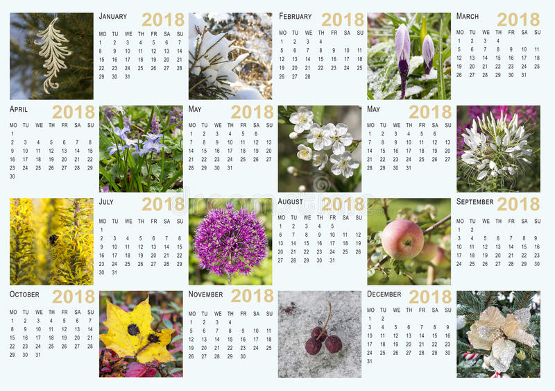 Calendar for 2018 stock photos