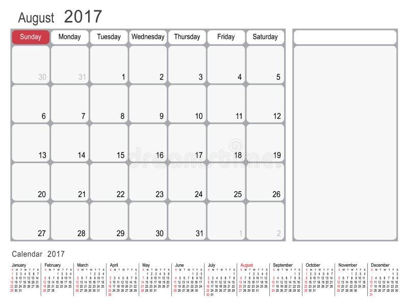 Calendar planner august 2017 stock vector image 82242039 for Time design planner