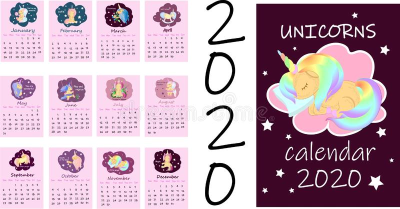 Calendar or A4 planner for 2020 with colorful cute unicorns, cartoon horses for children. Cover and monthly pages with stock illustration