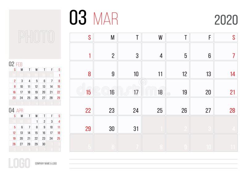 Calendario Marzo 2020.Marzo 2019 Wall Calendar Spanish Stock Illustration