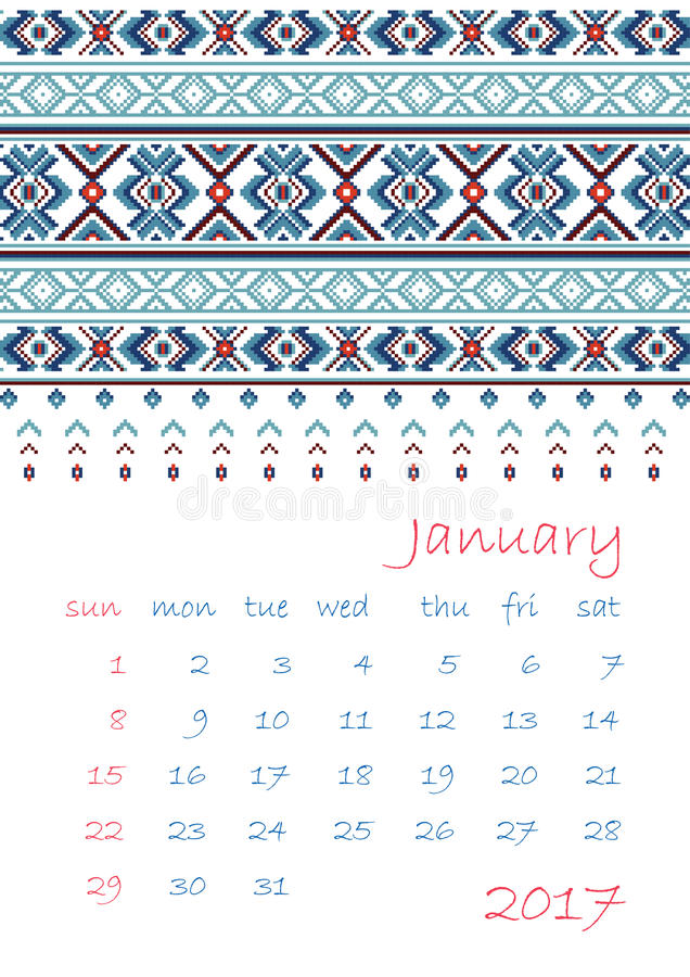 2017 Calendar planner with ethnic cross-stitch ornament Week starts on Sunday. Vector illustration. From collection of Balto-Slavic ornaments stock illustration